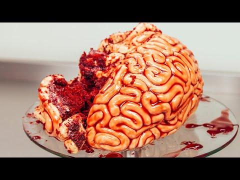 How to make a brain cake! red velvet cake, fondant and raspberry jam!
