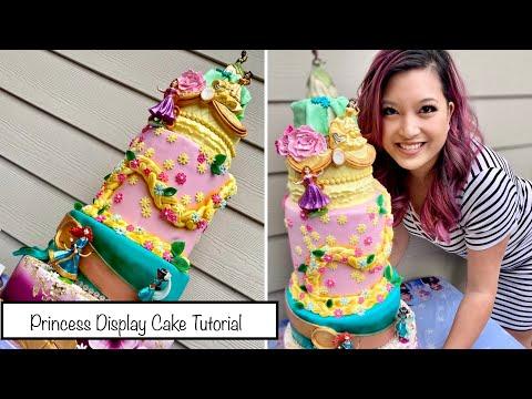 How to make a 5 tiered disney princess cake at home | make a fondant display cake 1 real cake on top