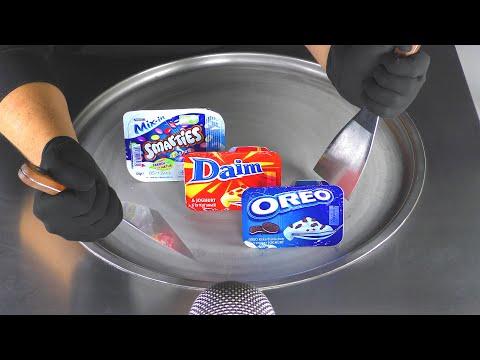 How to make frozen yogurt ice cream rolls with oreo daim & smarties chocolate flavour - asmr recipe