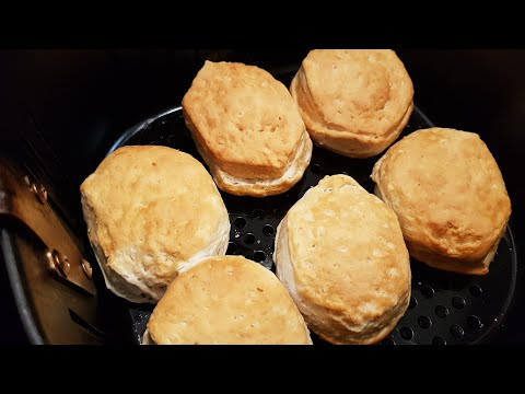 Air fryer canned buttermilk biscuits cooked perfectly brown