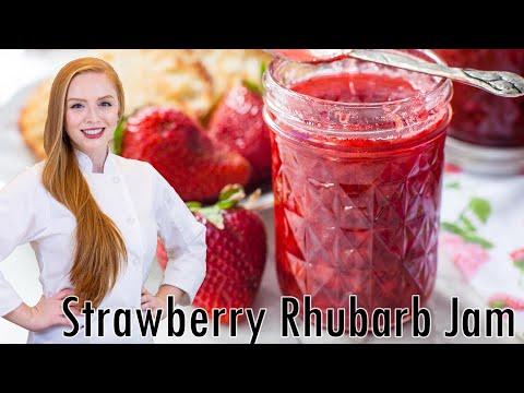 Easy homemade strawberry rhubarb jam recipe!!