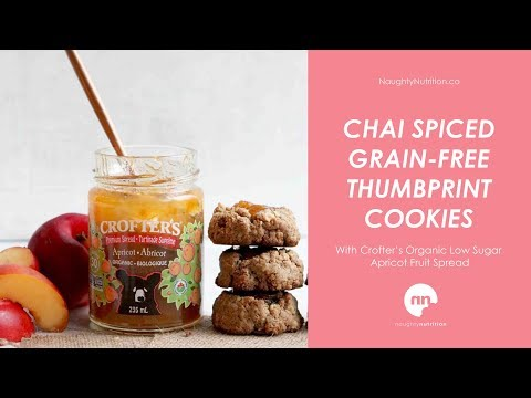Easy chai spiced thumbprint cookies with low sugar apricot jam