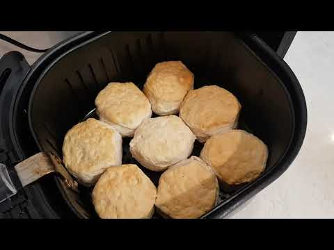 Big buttermilk biscuits cooked in an air fryer