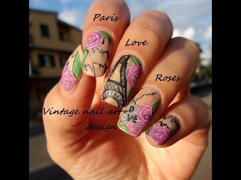 Mix and match vintage wallpaper nail art ~~ paris ~~ roses~~
