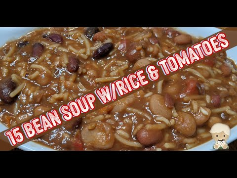 15 bean soup in instapot with beef stock, tomatoes & rice, no cajun packet