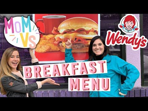 Mom tries the entire wendy's breakfast menu | fast food taste test & review