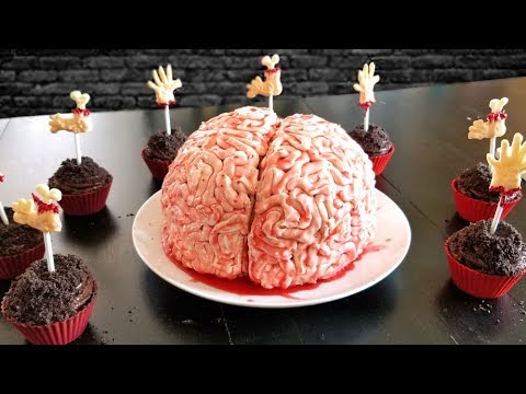 How to make brain cake and spooky cupcakes topped with body parts chocolate lollipops!