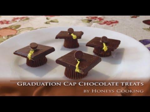 Graduation cap chocolate treats. cute graduation recipe. very easy. takes less than 5 minutes