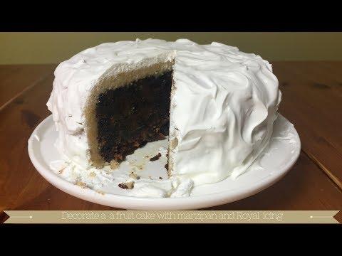 Royal icing cake : decorate fruit cake with royal icing : marzipan cake