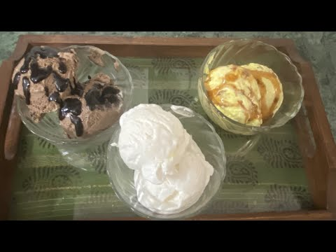 Vanilla, chocolate, and butter scotch ice cream // how to make different flavour ice cream : -